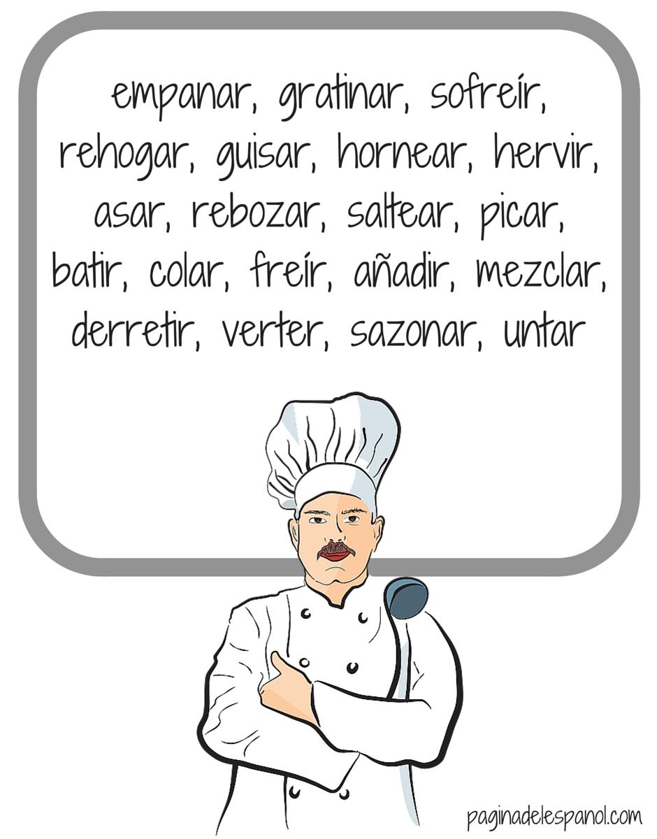 20 verbos para cocinar la p gina del espa ol for Cocinar con 20 soles