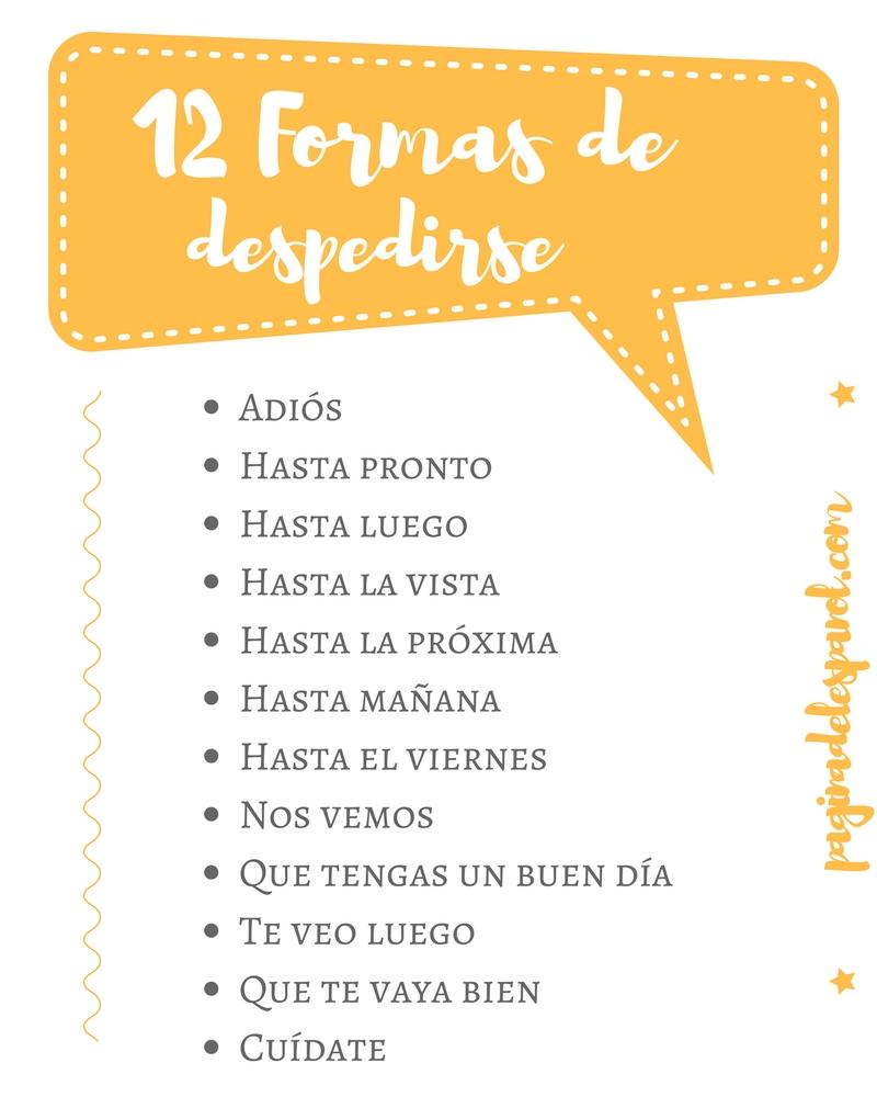 Formas de decir adiós en español | La página del español