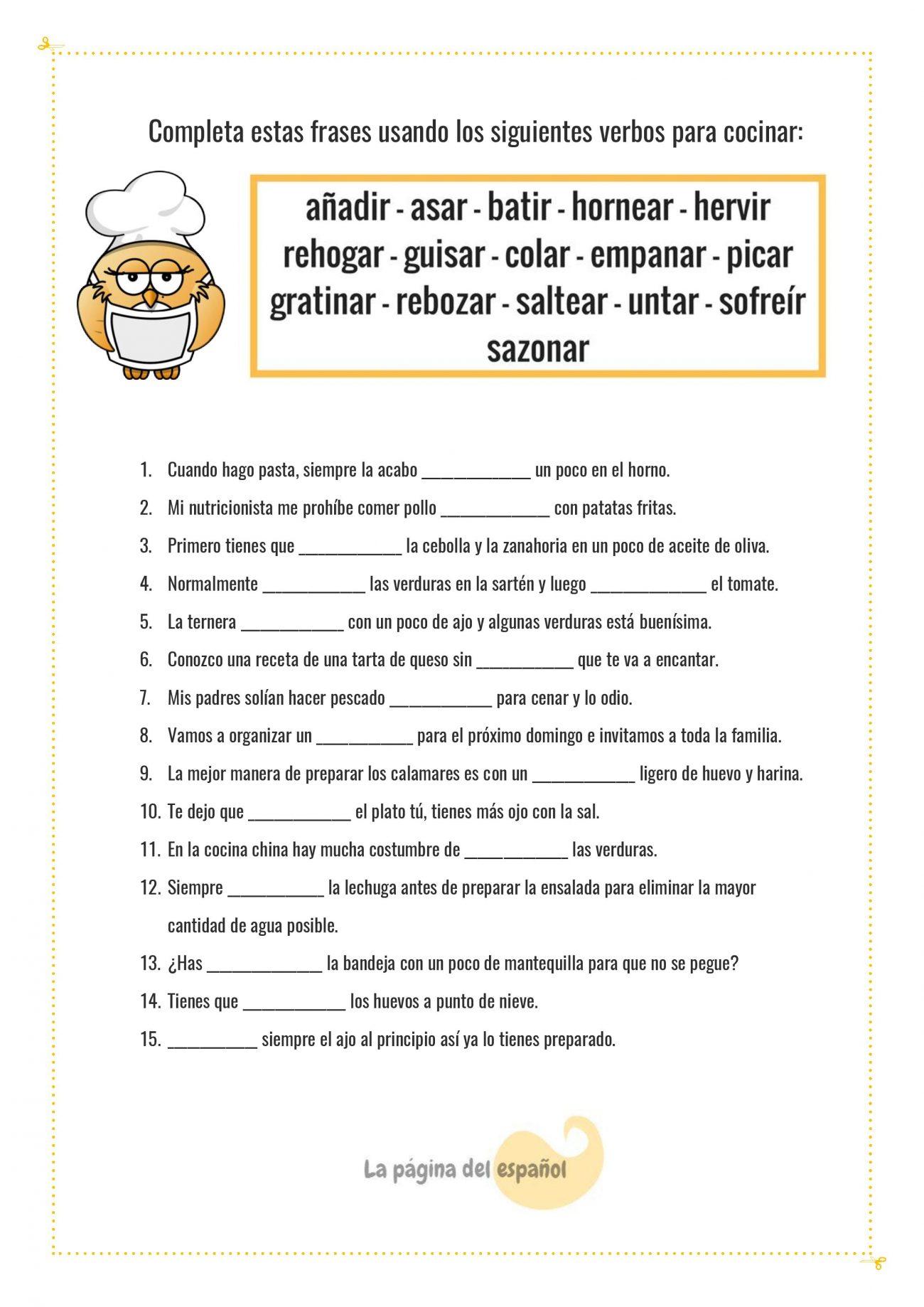 Frases Con Verbos Para Cocinar La Página Del Español