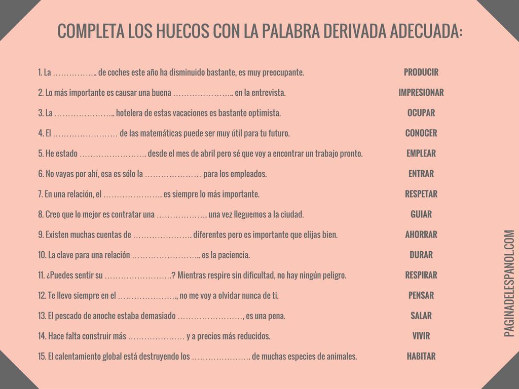 Palabras derivadas   La página del español